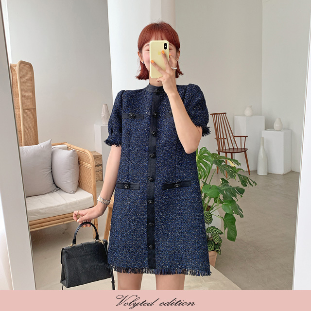 [VELYTED EDITION] Satiny Tweed Mini Dress