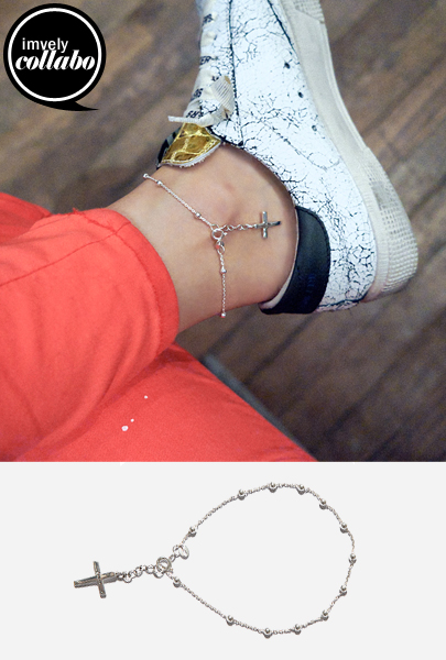 [imfrica] Silver Tone Cross Anklet