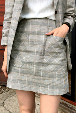 Glen Check Front Pocket Skirt