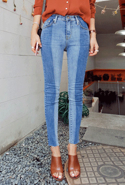 Two-Toned Denim Skinny Jeans