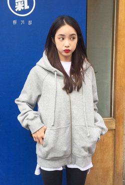 [LOVE ME MORE] Basic Fit Zip Up Hoodie