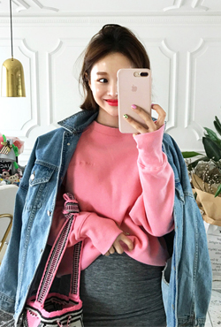 [LOVE ME MORE] Lined Raglan Sleeve Sweatshirt