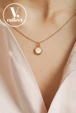 [V,Collect] Round Pendant Cable Chain Necklace