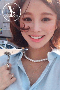 [V,Collect] Faux Pearl Charms Lariat Necklace