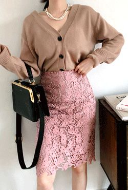 H-Line Lace Overlay Skirt