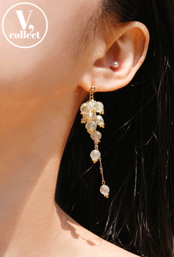 [V,Collect] Clustered Crystal Drop Earrings