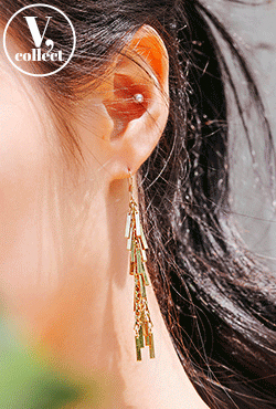 [V,Collect] Dangling Clustered Bar Earrings