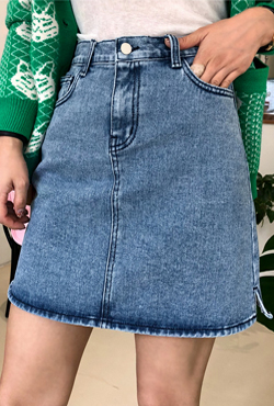 [THX,V] Slit Mini Denim Skirt